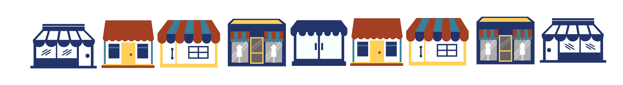 Illustration of a row of storefronts.