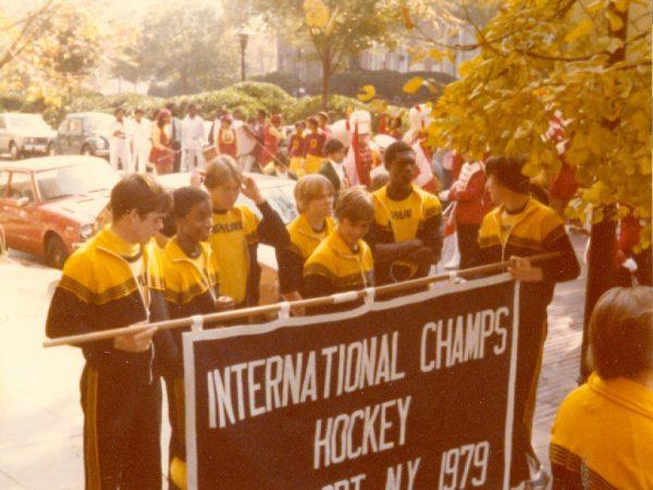 Benedictine's hockey team at the 1979 International Special Olympics.